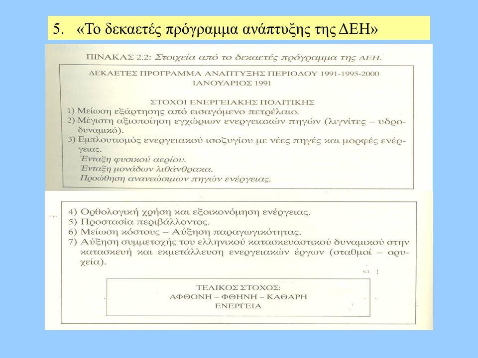 5.«Το δεκαετές πρόγραμμα ανάπτυξης της ΔΕΗ»