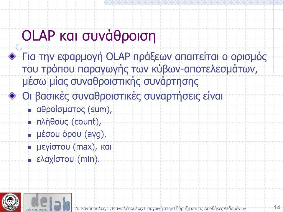 OLAP και συνάθροιση Για την εφαρμογή OLAP πράξεων απαιτείται ο ορισμός του τρόπου παραγωγής των κύβων-αποτελεσμάτων, μέσω μίας συναθροιστικής συνάρτησ