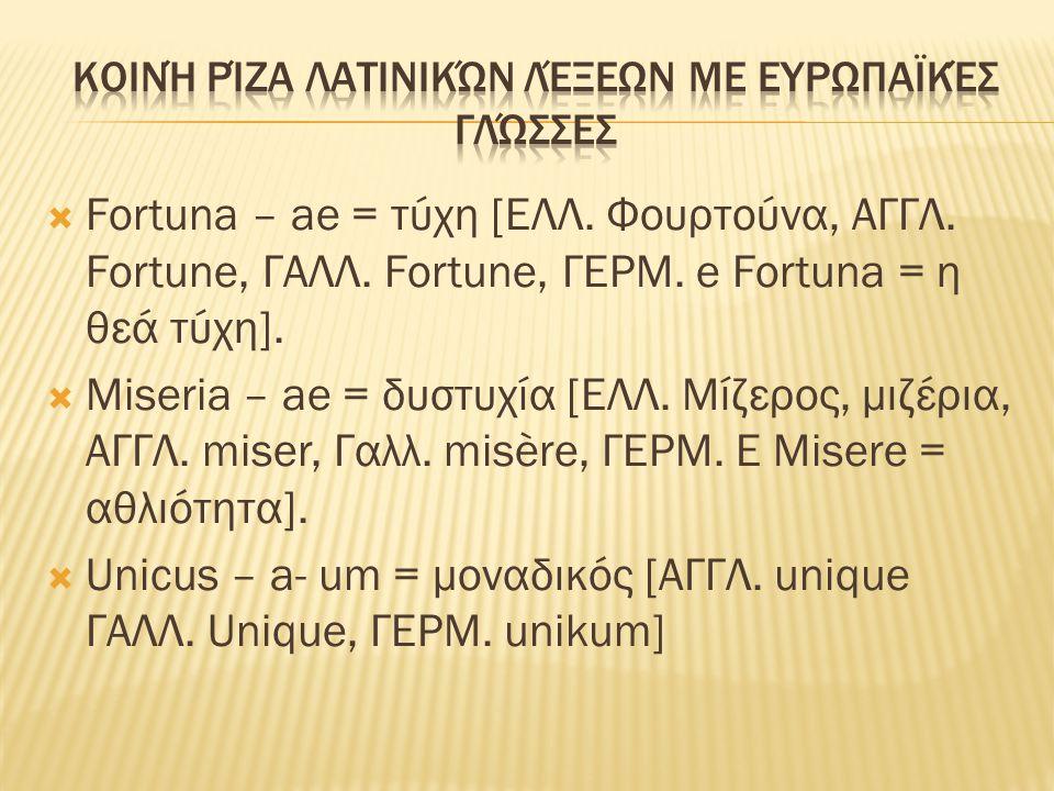  Fortuna – ae = τύχη [ΕΛΛ. Φουρτούνα, ΑΓΓΛ. Fortune, ΓΑΛΛ. Fortune, ΓΕΡΜ. e Fortuna = η θεά τύχη].  Miseria – ae = δυστυχία [ΕΛΛ. Μίζερος, μιζέρια,