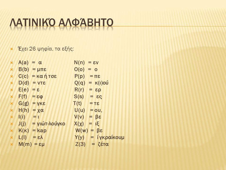  Έχει 26 ψηφία, τα εξής:  Α(a) = α Ν(n) = εν  B(b) = μπε O(o) = o  C(c) = κα ή τσε P(p) = πε  D(d) = ντε Q(q) = κ(ι)ού  E(e) = ε R(r) = ερ  F(f
