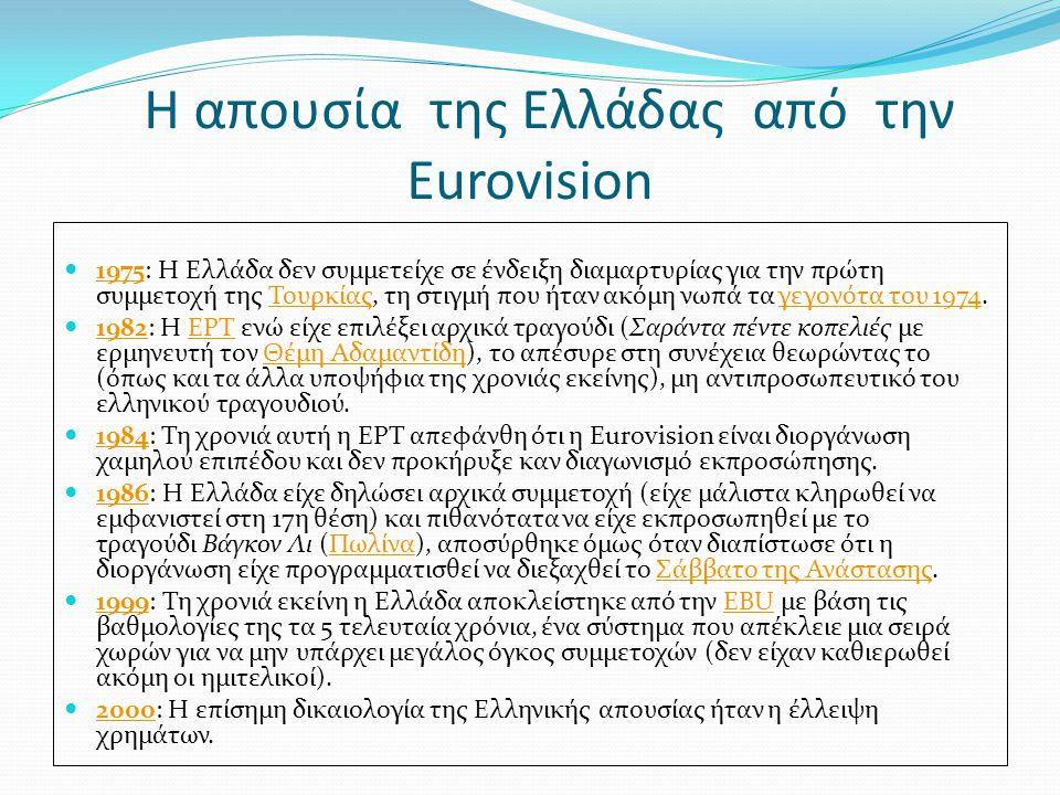 Η απουσία της Ελλάδας από την Eurovision 1975: Η Ελλάδα δεν συμμετείχε σε ένδειξη διαμαρτυρίας για την πρώτη συμμετοχή της Τουρκίας, τη στιγμή που ήταν ακόμη νωπά τα γεγονότα του 1974.