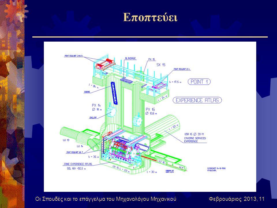 Οι Σπουδές και το επάγγελμα του Μηχανολόγου Μηχανικού Φεβρουάριος 2013, 11 Εποπτεύει