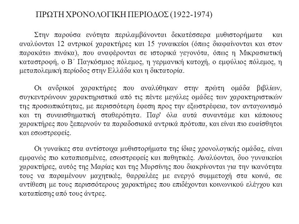 ΠΡΩΤΗ ΧΡΟΝΟΛΟΓΙΚΗ ΠΕΡΙΟΔΟΣ (1922-1974) Στην παρούσα ενότητα περιλαμβάνονται δεκατέσσερα μυθιστορήματα και αναλύονται 12 αντρικοί χαρακτήρες και 15 γυν