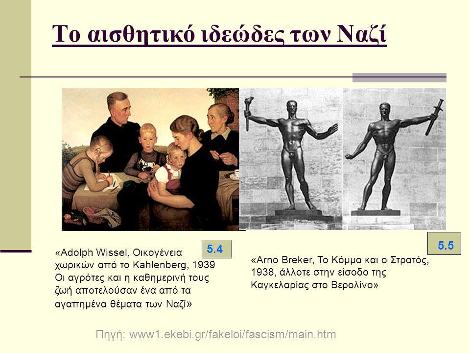 Το αισθητικό ιδεώδες των Ναζί «Adolph Wissel, Οικογένεια χωρικών από το Kahlenberg, 1939 Οι αγρότες και η καθημερινή τους ζωή αποτελούσαν ένα από τα α