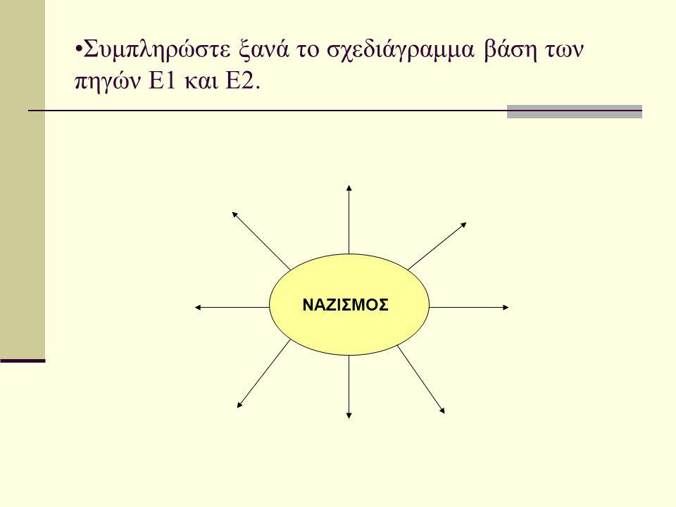 Συμπληρώστε ξανά το σχεδιάγραμμα βάση των πηγών Ε1 και Ε2. ΝΑΖΙΣΜΟΣ