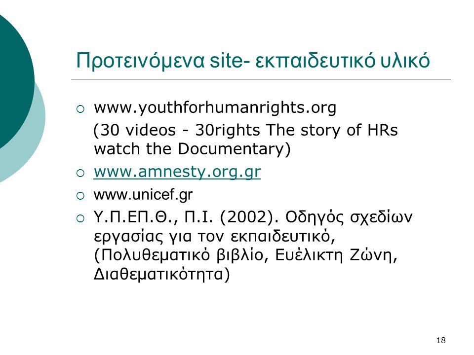 18 Προτεινόμενα site- εκπαιδευτικό υλικό  www.youthforhumanrights.org (30 videos - 30rights The story of HRs watch the Documentary)  www.amnesty.org