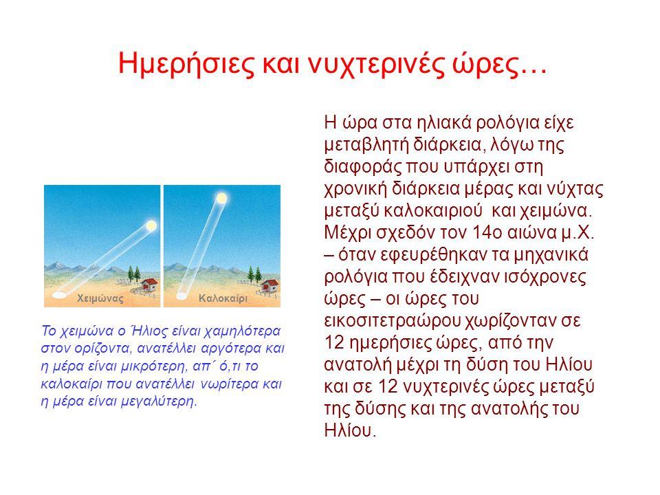 Για να παρακολουθούν τον Ήλιο και να ορίζουν τις ώρες, οι αρχαίοι λαοί χρησιμοποιούσαν ως κατάλληλο όργανο ένα ηλιακό ή «σκιαθηριακό» ρολόι. Τα ηλιακά