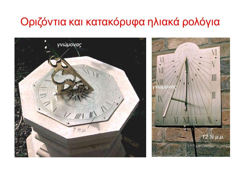 Αργότερα έγειραν το στύλο του γνώμονα κατά γωνία ίση με το γεωγραφικό πλάτος του τόπου όπου ήταν τοποθετημένο το ηλιακό ρολόι έτσι, ώστε να παραμένει