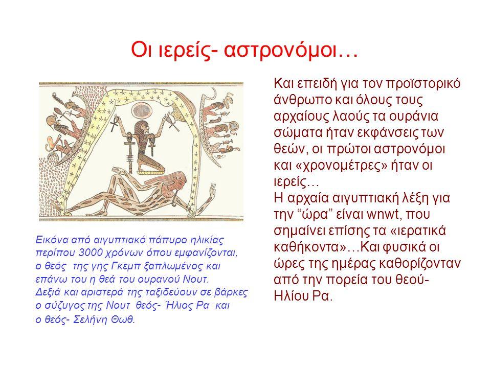 Και επειδή για τον προϊστορικό άνθρωπο και όλους τους αρχαίους λαούς τα ουράνια σώματα ήταν εκφάνσεις των θεών, οι πρώτοι αστρονόμοι και «χρονομέτρες» ήταν οι ιερείς… Η αρχαία αιγυπτιακή λέξη για την ώρα είναι wnwt, που σημαίνει επίσης τα «ιερατικά καθήκοντα»…Και φυσικά οι ώρες της ημέρας καθορίζονταν από την πορεία του θεού- Ηλίου Ρα.