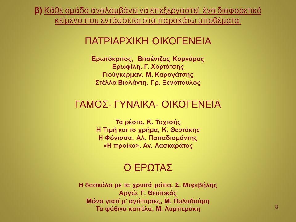 8 β) Κάθε ομάδα αναλαμβάνει να επεξεργαστεί ένα διαφορετικό κείμενο που εντάσσεται στα παρακάτω υποθέματα: ΠΑΤΡΙΑΡΧΙΚΗ ΟΙΚΟΓΕΝΕΙΑ Ερωτόκριτος, Βιτσέντζος Κορνάρος Ερωφίλη, Γ.