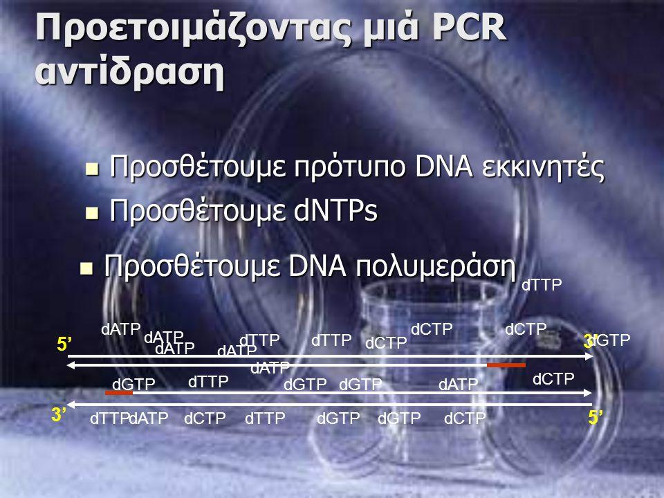 Προετοιμάζοντας μιά PCR αντίδραση Προσθέτουμε πρότυπο DNA εκκινητές Προσθέτουμε πρότυπο DNA εκκινητές 3' 5' 3' dCTP dTTP dCTP dGTP dATP dGTP dCTP dTTP