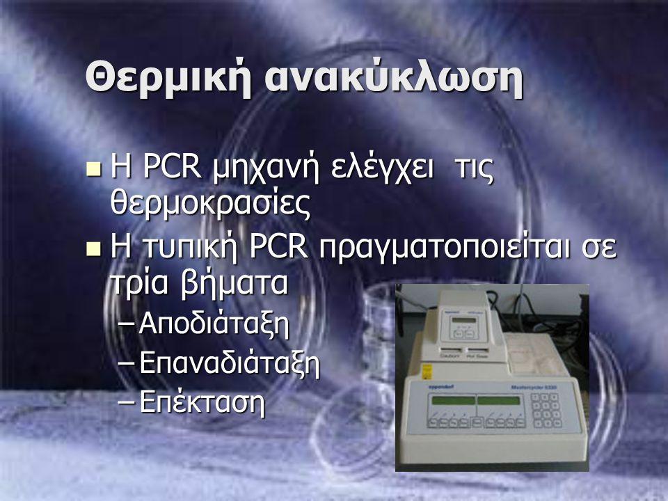 Θερμική ανακύκλωση Η PCR μηχανή ελέγχει τις θερμοκρασίες Η PCR μηχανή ελέγχει τις θερμοκρασίες Η τυπική PCR πραγματοποιείται σε τρία βήματα Η τυπική P