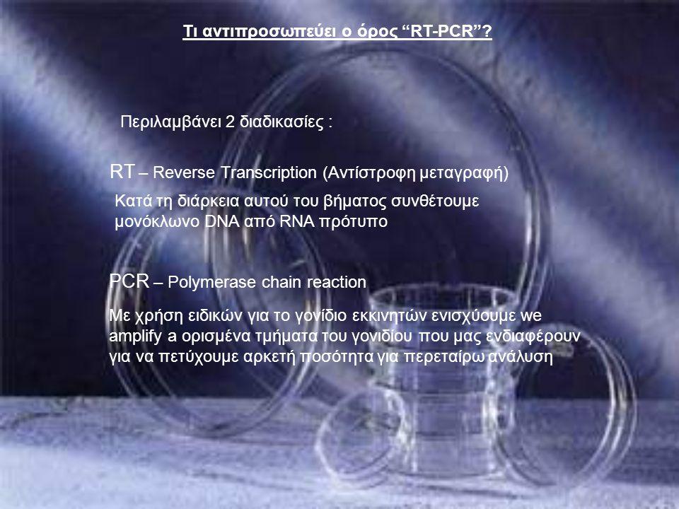 """Τι αντιπροσωπεύει ο όρος """"RT-PCR""""? Περιλαμβάνει 2 διαδικασίες : RT – Reverse Transcription (Αντίστροφη μεταγραφή) Κατά τη διάρκεια αυτού του βήματος σ"""