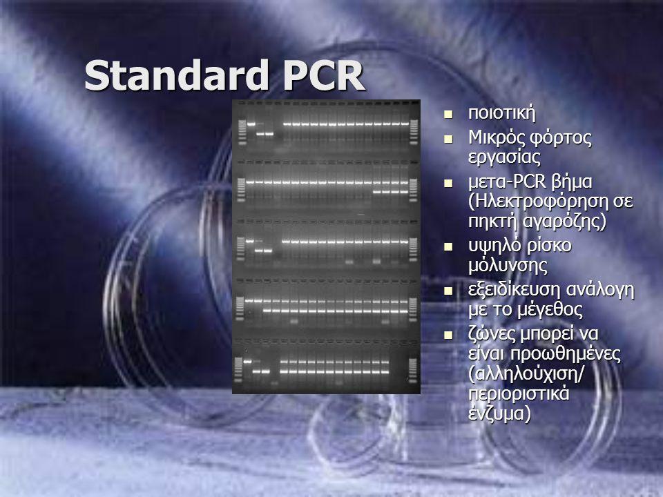 Standard PCR ποιοτική ποιοτική Μικρός φόρτος εργασίας Μικρός φόρτος εργασίας μετα-PCR βήμα (Ηλεκτροφόρηση σε πηκτή αγαρόζης) μετα-PCR βήμα (Ηλεκτροφόρ