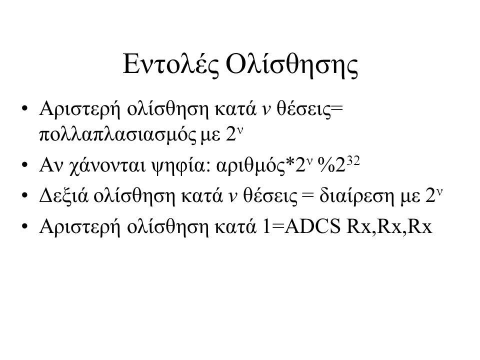 Εντολές Ολίσθησης Αριστερή ολίσθηση κατά ν θέσεις= πολλαπλασιασμός με 2 ν Αν χάνονται ψηφία: αριθμός*2 ν %2 32 Δεξιά ολίσθηση κατά ν θέσεις = διαίρεση με 2 ν Αριστερή ολίσθηση κατά 1=ADCS Rx,Rx,Rx