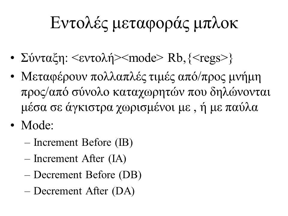 Εντολές μεταφοράς μπλοκ Σύνταξη: Rb,{ } Μεταφέρουν πολλαπλές τιμές από/προς μνήμη προς/από σύνολο καταχωρητών που δηλώνονται μέσα σε άγκιστρα χωρισμένοι με, ή με παύλα Mode: –Increment Before (IB) –Increment After (IA) –Decrement Before (DB) –Decrement After (DA)
