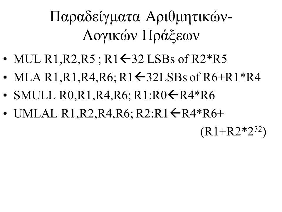 Παραδείγματα Αριθμητικών- Λογικών Πράξεων MUL R1,R2,R5 ; R1  32 LSBs of R2*R5 MLA R1,R1,R4,R6; R1  32LSBs of R6+R1*R4 SMULL R0,R1,R4,R6; R1:R0  R4*R6 UMLAL R1,R2,R4,R6; R2:R1  R4*R6+ (R1+R2*2 32 )