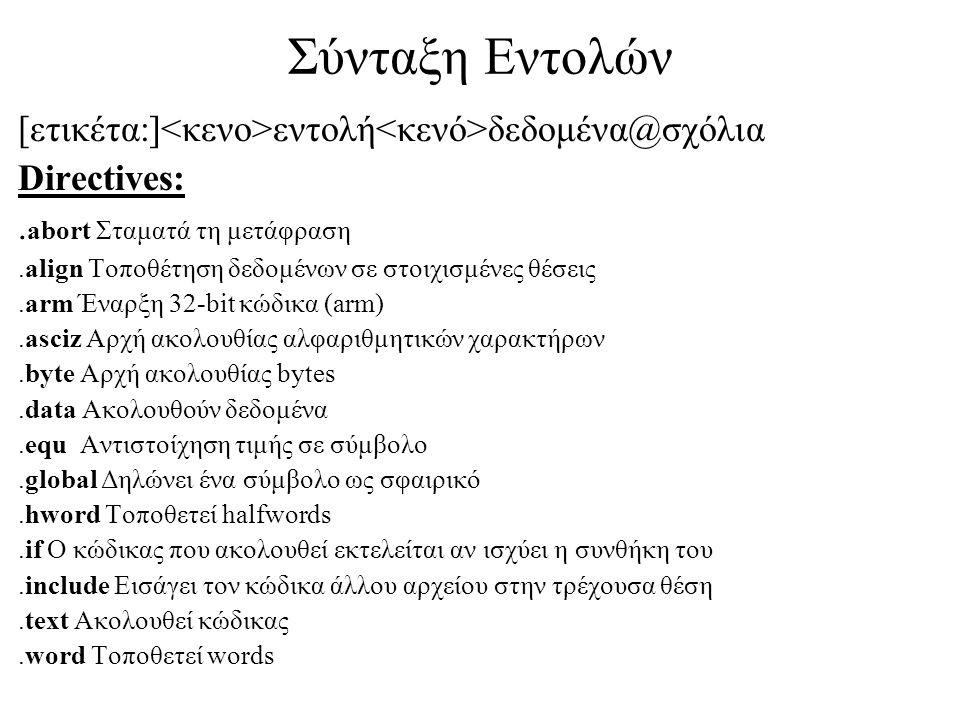 Σύνταξη Εντολών [ετικέτα:] εντολή δεδομένα@σχόλια Directives:.