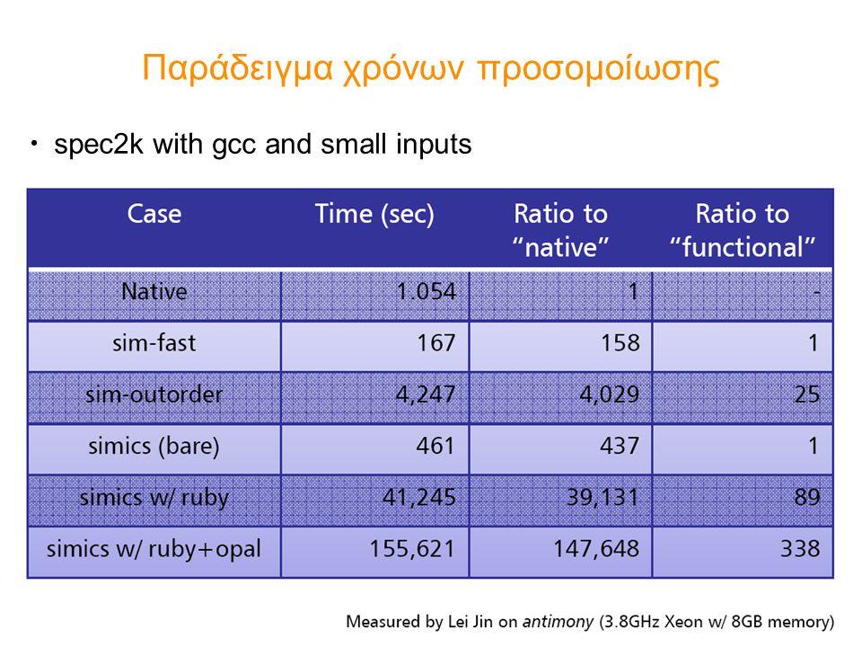 Παράδειγμα χρόνων προσομοίωσης spec2k with gcc and small inputs