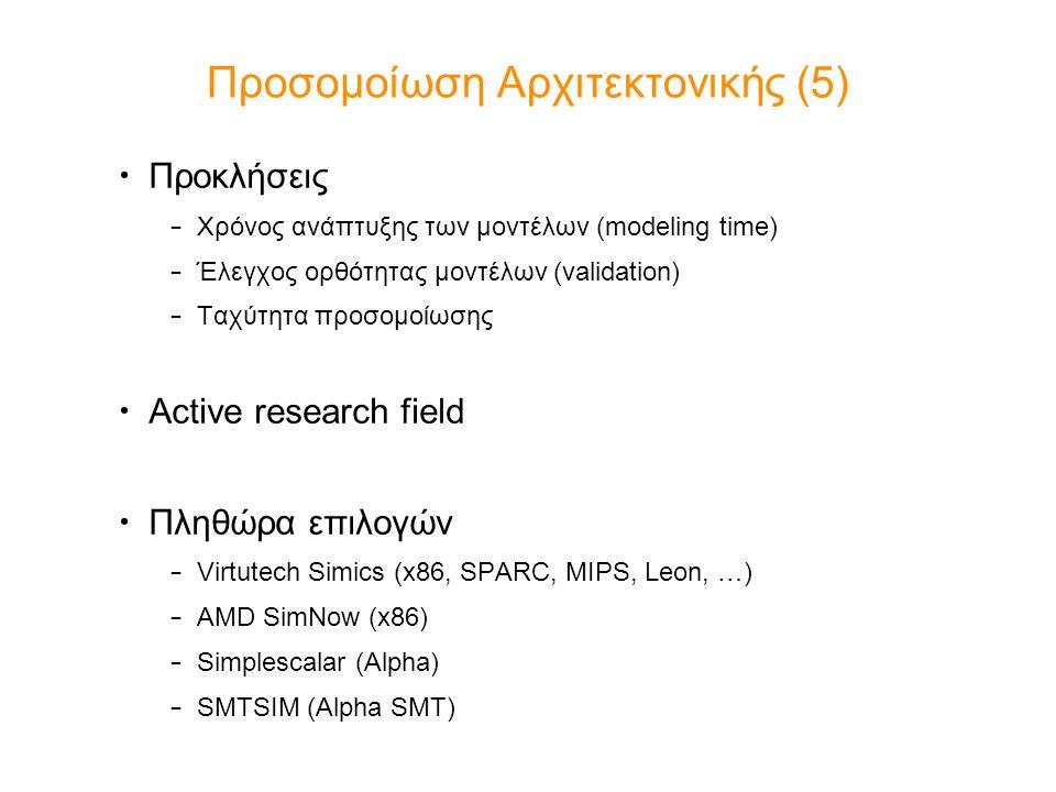 Προσομοίωση Αρχιτεκτονικής (5) Προκλήσεις – Χρόνος ανάπτυξης των μοντέλων (modeling time) – Έλεγχος ορθότητας μοντέλων (validation) – Ταχύτητα προσομο