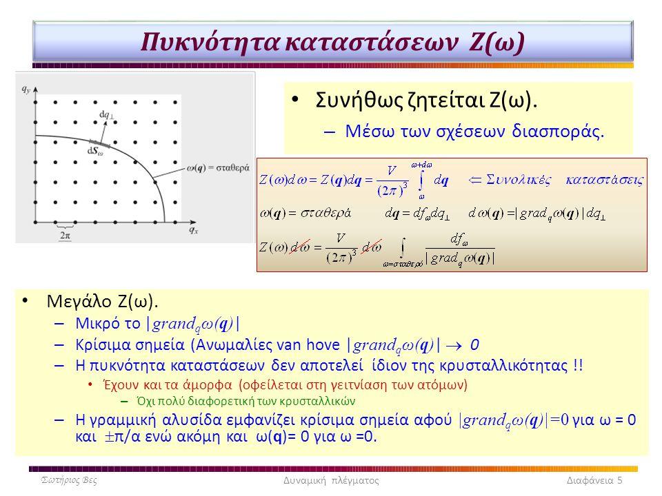 Πυκνότητα καταστάσεων Ζ(ω) Σωτήριος ΒεςΔυναμική πλέγματος Διαφάνεια 5 Συνήθως ζητείται Ζ(ω). – Μέσω των σχέσεων διασποράς. Μεγάλο Ζ(ω). – Μικρό το | g