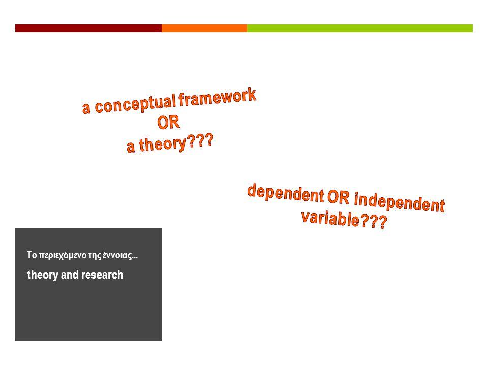 theory and research Το περιεχόμενο της έννοιας...