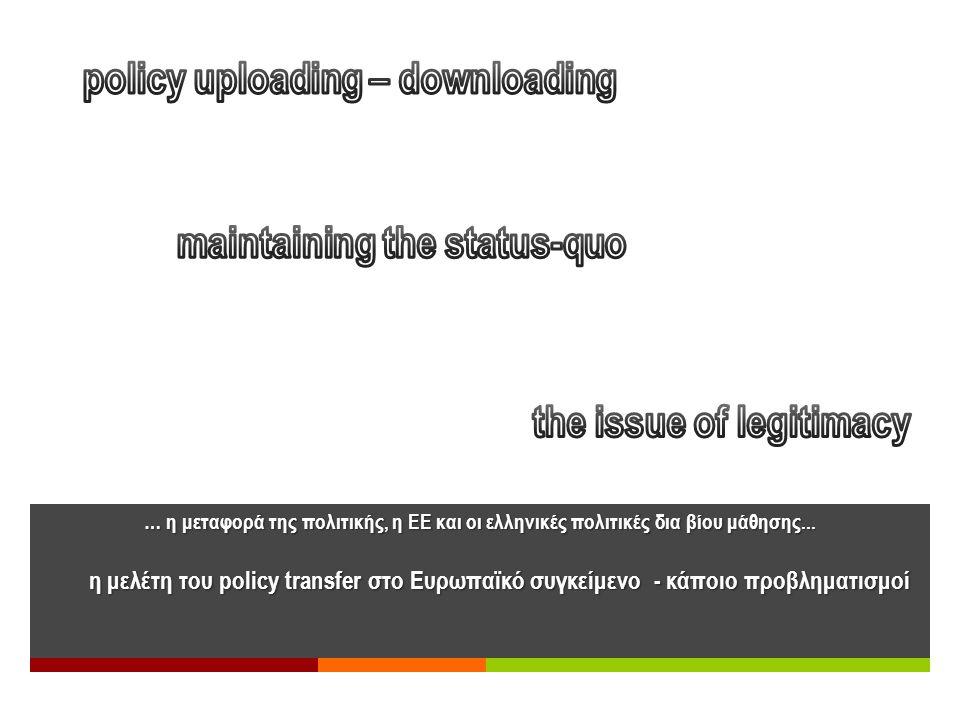 … η μεταφορά της πολιτικής, η ΕΕ και οι ελληνικές πολιτικές δια βίου μάθησης... η μελέτη του policy transfer στο Ευρωπαϊκό συγκείμενο - κάποιο προβλημ