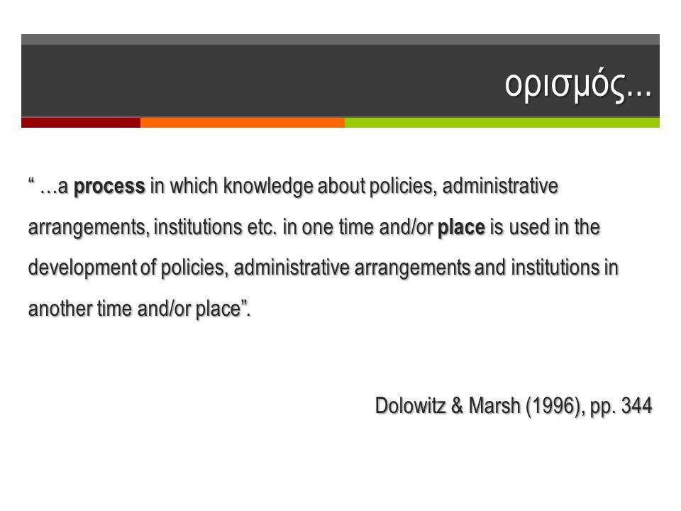 """ορισμός... """" …a process in which knowledge about policies, administrative arrangements, institutions etc. in one time and/or place is used in the deve"""