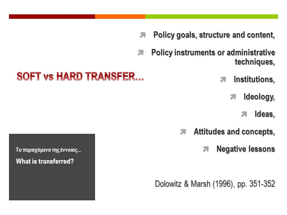 What is transferred? Το περιεχόμενο της έννοιας...  Policy goals, structure and content,  Policy instruments or administrative techniques,  Institu