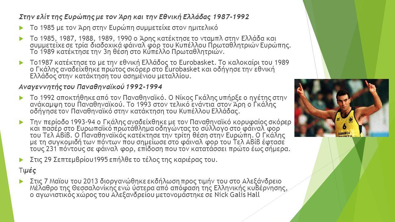 Στην ελίτ της Ευρώπης με τον Άρη και την Εθνική Ελλάδας 1987-1992  Το 1985 με τον Άρη στην Ευρώπη συμμετείχε στον ημιτελικό  Το 1985, 1987, 1988, 1989, 1990 ο Άρης κατέκτησε το νταμπλ στην Ελλάδα και συμμετείχε σε τρία διαδοχικά φάιναλ φορ του Κυπέλλου Πρωταθλητριών Ευρώπης.