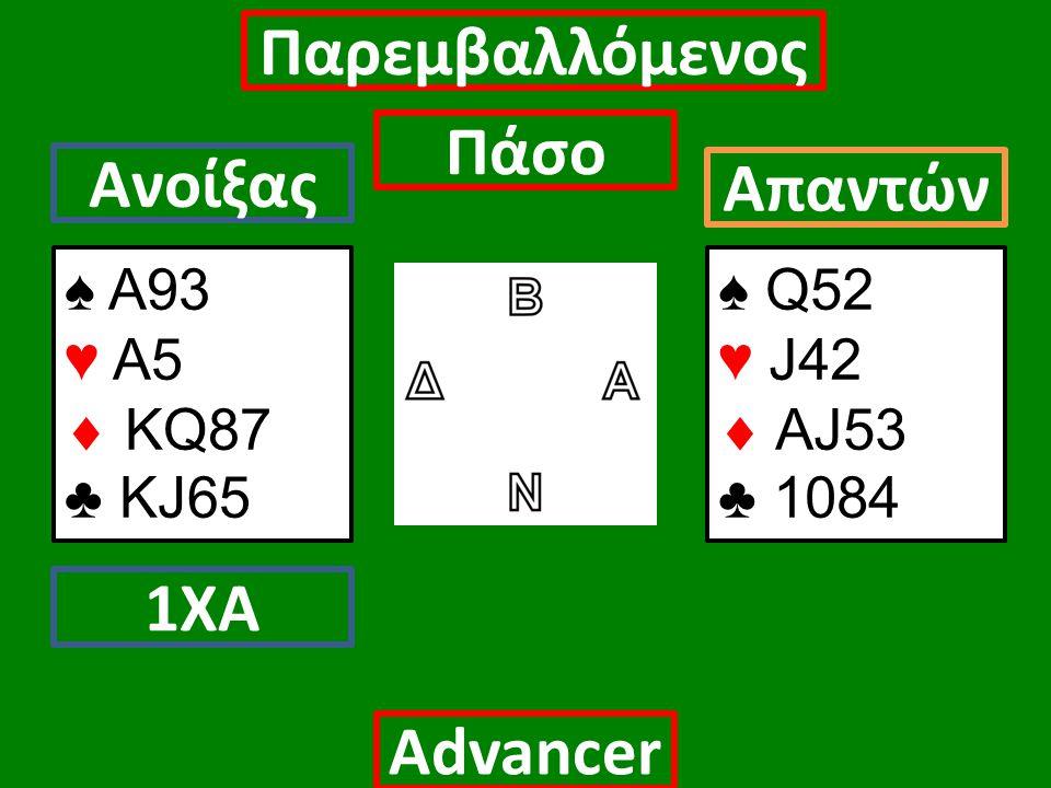 ♠ Α93 ♥ Α5  ΚQ87 ♣ KJ65 Ανοίξας 1ΧΑ Απαντών Αdvancer Παρεμβαλλόμενος Πάσο ♠ Q52 ♥ J42  AJ53 ♣ 1084