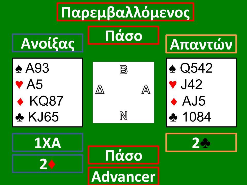 ♠ Α93 ♥ Α5  ΚQ87 ♣ KJ65 Ανοίξας 1ΧΑ Πάσο Απαντών 2♣2♣ Αdvancer ♠ Q542 ♥ J42  AJ5 ♣ 1084 Παρεμβαλλόμενος Πάσο 2♦2♦