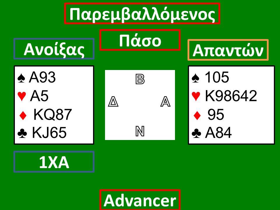 ♠ Α93 ♥ Α5  ΚQ87 ♣ KJ65 Ανοίξας 1ΧΑ Πάσο Απαντών Αdvancer ♠ 105 ♥ Κ98642  95 ♣ Α84 Παρεμβαλλόμενος