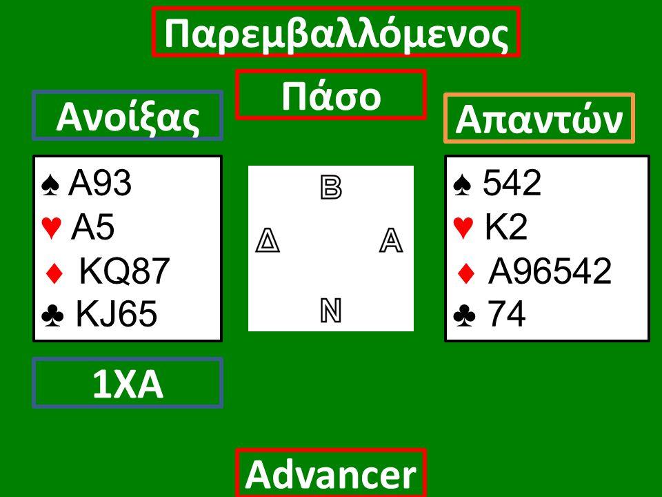 ♠ Α93 ♥ Α5  ΚQ87 ♣ KJ65 Ανοίξας 1ΧΑ Παρεμβαλλόμενος Πάσο Απαντών Αdvancer ♠ 542 ♥ Κ2  Α96542 ♣ 74
