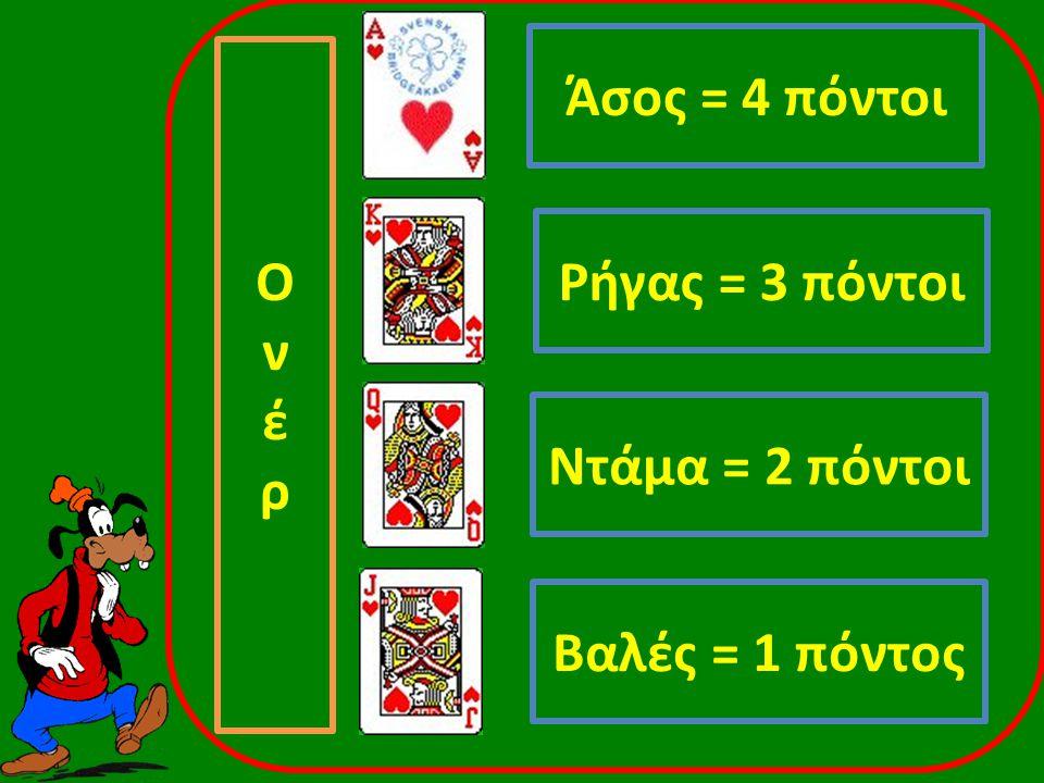 Ρήγας = 3 πόντοι Ντάμα = 2 πόντοι Άσος = 4 πόντοι Βαλές = 1 πόντος ΟνέρΟνέρ
