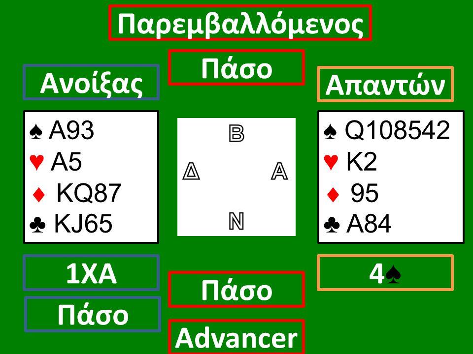 ♠ Α93 ♥ Α5  ΚQ87 ♣ KJ65 Ανοίξας 1ΧΑ Πάσο Απαντών 4♠4♠ Αdvancer ♠ Q108542 ♥ Κ2  95 ♣ Α84 Παρεμβαλλόμενος Πάσο