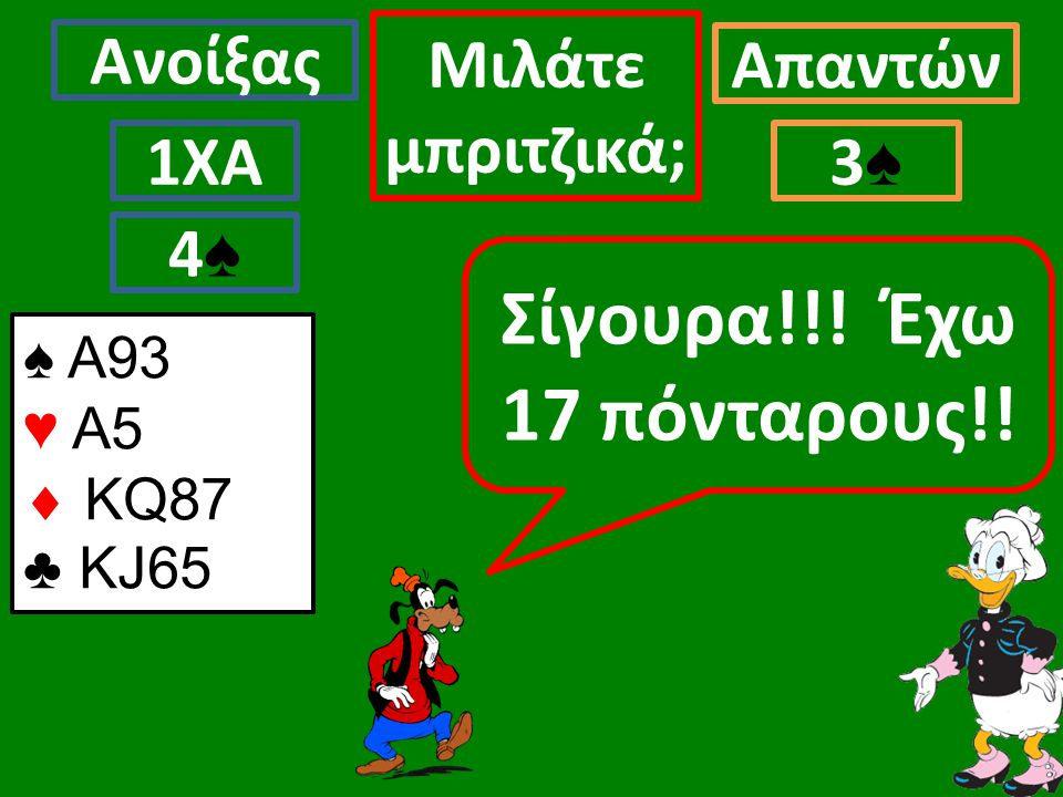 Ανοίξας Απαντών Μιλάτε μπριτζικά; 1ΧΑ3♠3♠ Σίγουρα!!.