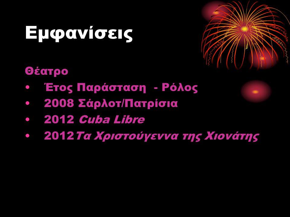 Εμφανίσεις Θέατρο Έτος Παράσταση - Ρόλος 2008 Σάρλοτ/Πατρίσια 2012 Cuba Libre 2012Τα Χριστούγεννα της Χιονάτης