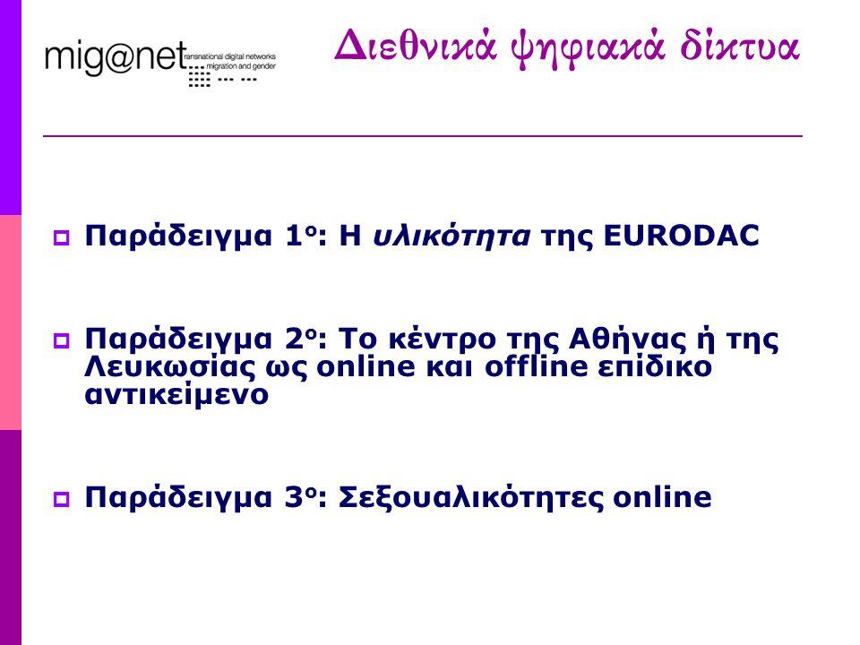 Διεθνικά ψηφιακά δίκτυα  Παράδειγμα 1 ο : Η υλικότητα της EURODAC  Παράδειγμα 2 ο : Το κέντρο της Αθήνας ή της Λευκωσίας ως online και offline επίδι