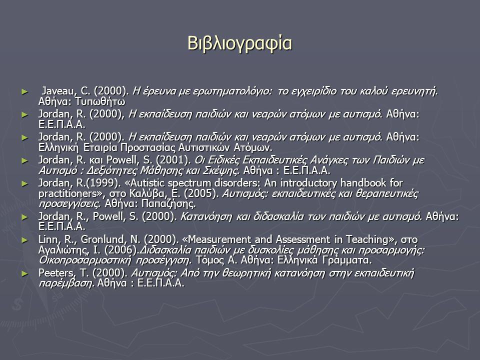 Βιβλιογραφία ► Javeau, C. (2000). Η έρευνα με ερωτηματολόγιο: το εγχειρίδιο του καλού ερευνητή. Αθήνα: Τυπωθήτω ► Jordan, R. (2000), Η εκπαίδευση παιδ