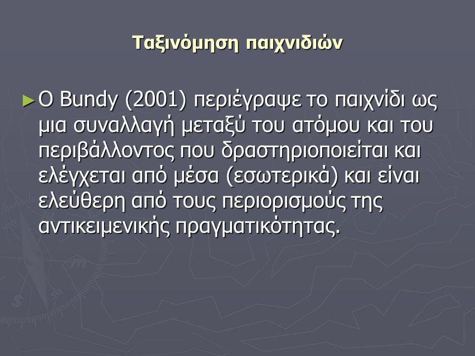 Ταξινόμηση παιχνιδιών ► Ο Bundy (2001) περιέγραψε το παιχνίδι ως μια συναλλαγή μεταξύ του ατόμου και του περιβάλλοντος που δραστηριοποιείται και ελέγχ