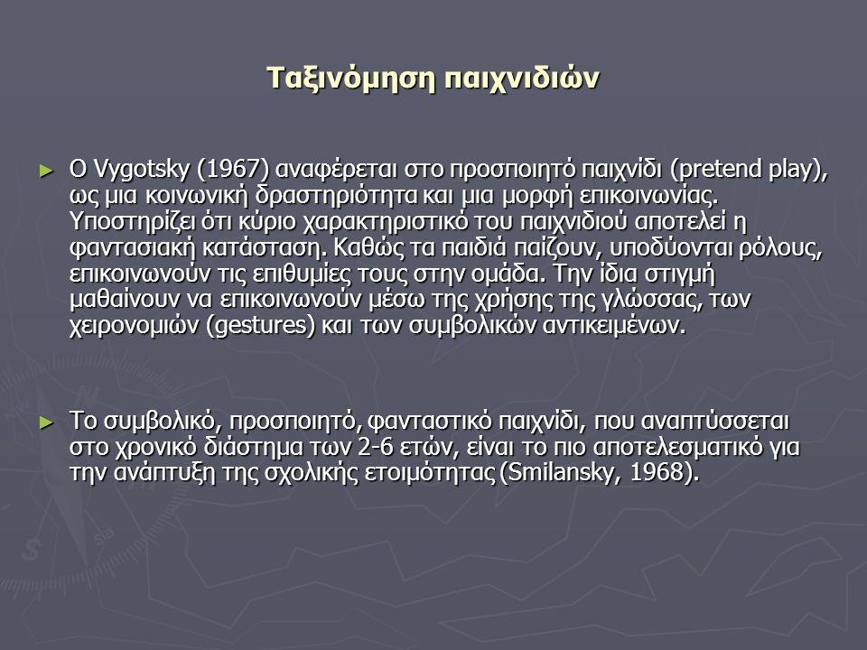 Ταξινόμηση παιχνιδιών ► Ο Vygotsky (1967) αναφέρεται στο προσποιητό παιχνίδι (pretend play), ως μια κοινωνική δραστηριότητα και μια μορφή επικοινωνίας