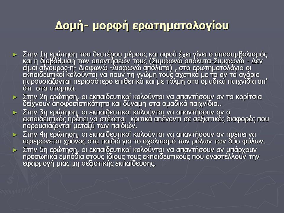 Δομή- μορφή ερωτηματολογίου ► Στην 1η ερώτηση του δευτέρου μέρους και αφού έχει γίνει ο αποσυμβολισμός και η διαβάθμιση των απαντήσεών τους (Συμφωνώ α