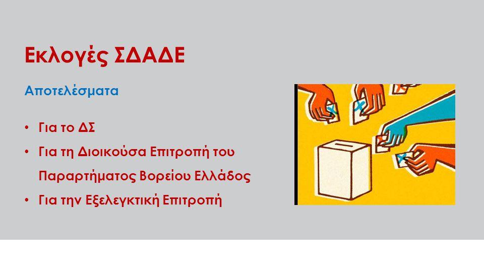 Εκλογές ΣΔΑΔΕ Αποτελέσματα Για το ΔΣ Για τη Διοικούσα Επιτροπή του Παραρτήματος Βορείου Ελλάδος Για την Εξελεγκτική Επιτροπή