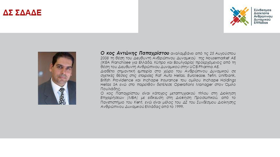 Ο κος Αντώνης Παπαχρίστου αναλαμβάνει από τις 25 Αυγούστου 2008 τη θέση του Διευθυντή Ανθρώπινου Δυναμικού της Housemarket AE (IKEA Franchisee για Ελλάδα, Κύπρο και Βουλγαρία) προερχόμενος από τη θέση του Διευθυντή Ανθρώπινου Δυναμικού στην UCB Pharma ΑΕ.