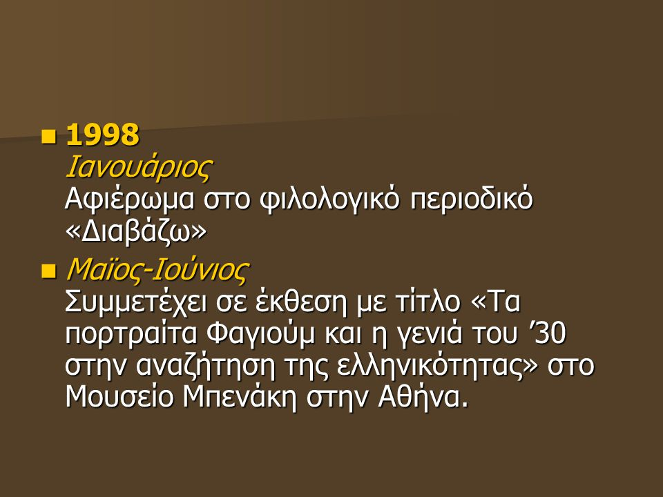 1998 Ιανουάριος Αφιέρωμα στο φιλολογικό περιοδικό «Διαβάζω» 1998 Ιανουάριος Αφιέρωμα στο φιλολογικό περιοδικό «Διαβάζω» Μαϊος-Ιούνιος Συμμετέχει σε έκ