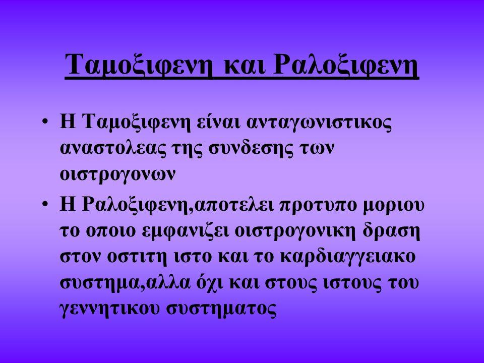 Ταμοξιφενη και Ραλοξιφενη Η Ταμοξιφενη είναι ανταγωνιστικος αναστολεας της συνδεσης των οιστρογονων Η Ραλοξιφενη,αποτελει προτυπο μοριου το οποιο εμφανιζει οιστρογονικη δραση στον οστιτη ιστο και το καρδιαγγειακο συστημα,αλλα όχι και στους ιστους του γεννητικου συστηματος