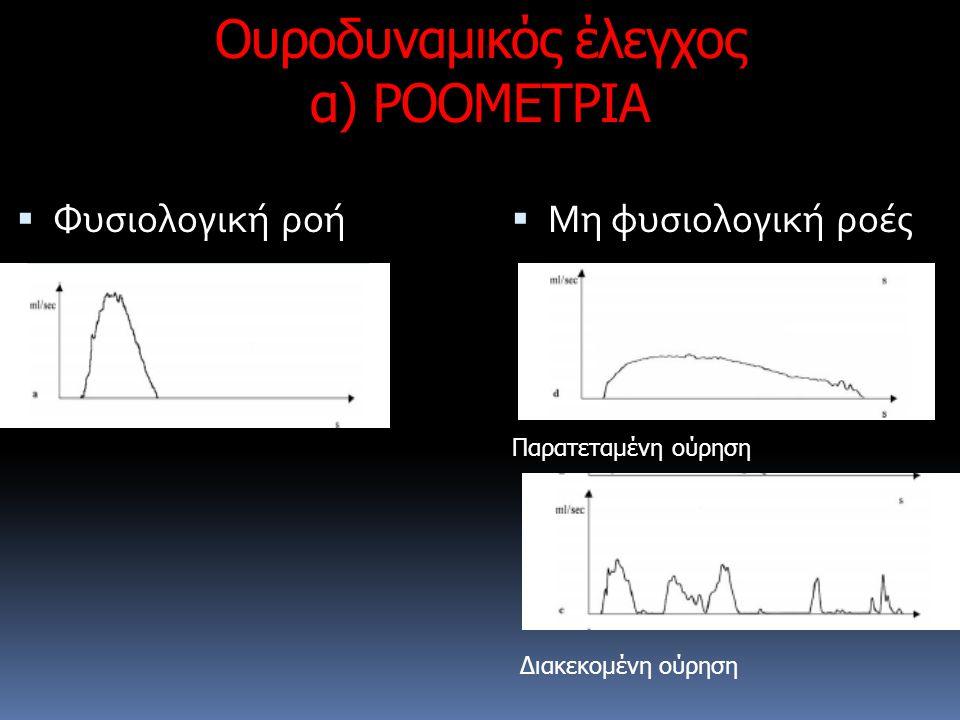 Ουροδυναμικός έλεγχος α) ΡΟΟΜΕΤΡΙΑ  Φυσιολογική ροή  Μη φυσιολογική ροές Παρατεταμένη ούρηση Διακεκομένη ούρηση