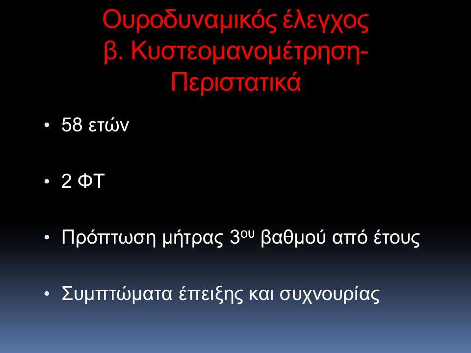 58 ετών 2 ΦΤ Πρόπτωση μήτρας 3 ου βαθμού από έτους Συμπτώματα έπειξης και συχνουρίας Ουροδυναμικός έλεγχος β. Κυστεομανομέτρηση- Περιστατικά