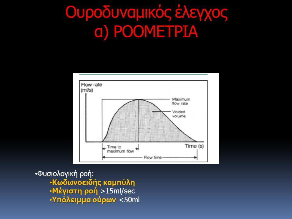 Ουροδυναμικός έλεγχος α) ΡΟΟΜΕΤΡΙΑ Φυσιολογική ροή: Κωδωνοειδής καμπύλη Κωδωνοειδής καμπύλη Μέγιστη ροή Μέγιστη ροή >15ml/sec Υπόλειμμα ούρων Υπόλειμμ
